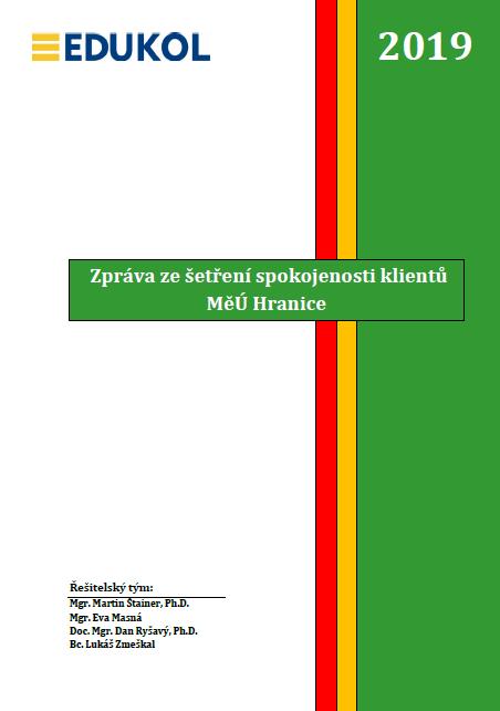 Náhled závěrečné zprávy ze šetření spokojenosti klientů Městského úřadu v Hranicích.
