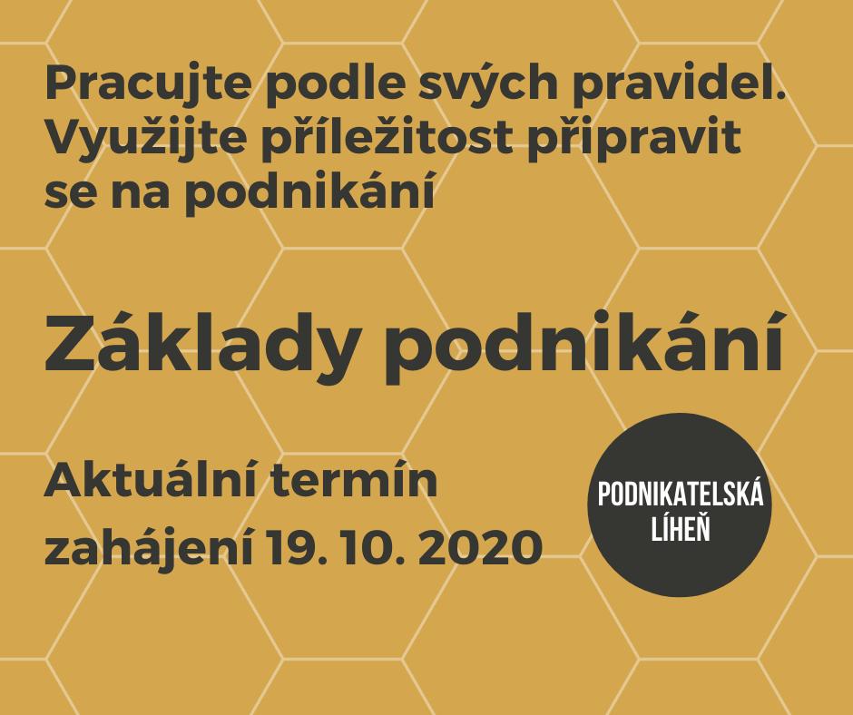 Upoutávka kurz Základy podnikání začínající 19.10.2020